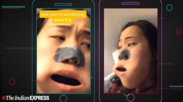 harmonica gets stuck in mouth, girl put harmonica inside mouth, just did a bad thing memes, tiktok videos, bizarre news, odd news, indian express