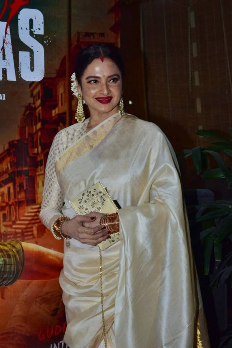rekha, rekha latest photos, rekha sari, sari designs 2020, sari ideas 2020, bollywood style sari, rekha actor, rekha amitabh bachchan, indian express