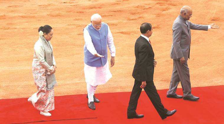 Myanmar President India visit, Myanmar President U Win Myint, Narendra Modi, India-Myanmar relations, India Myanmar border, Indo Myanmar bus service, India Myanmar land crossing, Indo Myanmar highway proposal, Indian express