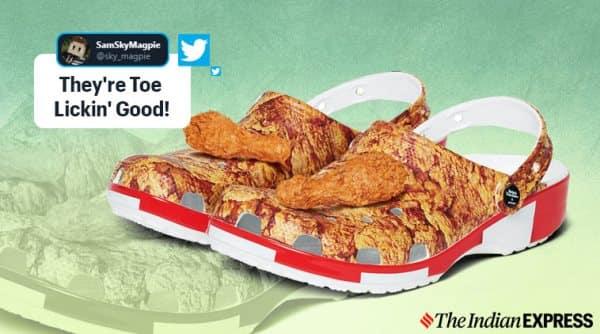 KFC, Crocs, Fried chicken print shoes, friend chicken shoes, KFC shoes, KFC crocs collaboration, KFC fried chicken print crocs, Colonel Sanders, Trending, Indian Express news