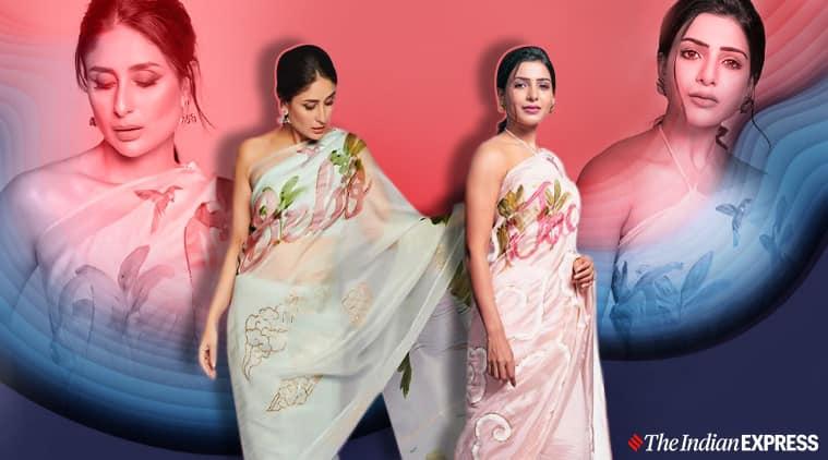 Kareena Kapoor, Samantha Akkineni, Picchika organza sari better, Urvashi Sethi, bollywood customized sari, indian express news