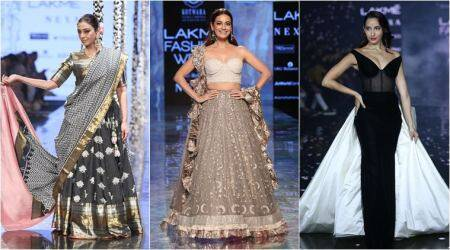 dia mirza, tabu, nora, daina penty, Lakme Fashion Week, Lakme Fashion Week summer spring, indian express news