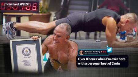 Guinness World Record, longest plank by 62 years old, record for longest plank, George Hood world record of longest plank, Chicago, Trending, Indian Express news