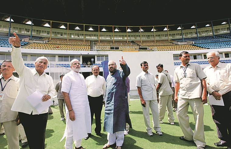 Motera stadium, donald trump india visit, ahmedabad stadium, gujarat cricket association, narendra modi, sports stadium, indian express