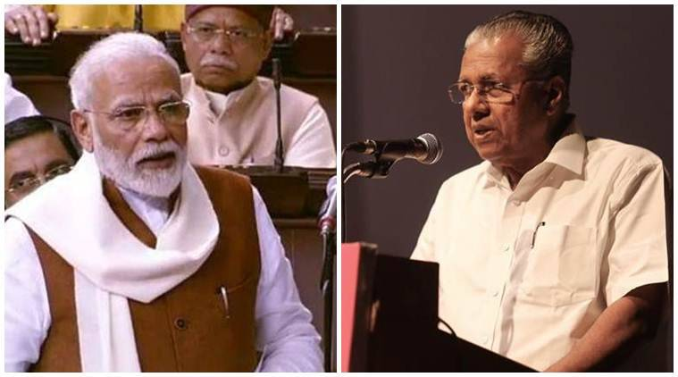 Pinarayi Vijayan, pm modi, narendra Modi, anti caa protests, extremist infiltration, pm modi statement on Kerala cm, PM MOdi rajya sabha speech, indian express