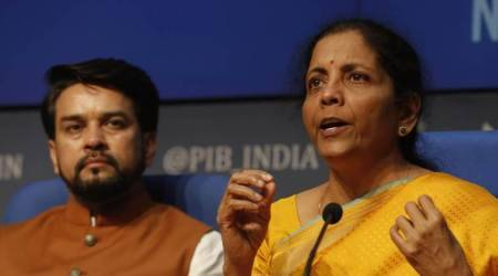 Finance Minister Nirmala Sitharaman (right) with Minister of State for Finance Anurag Thakur