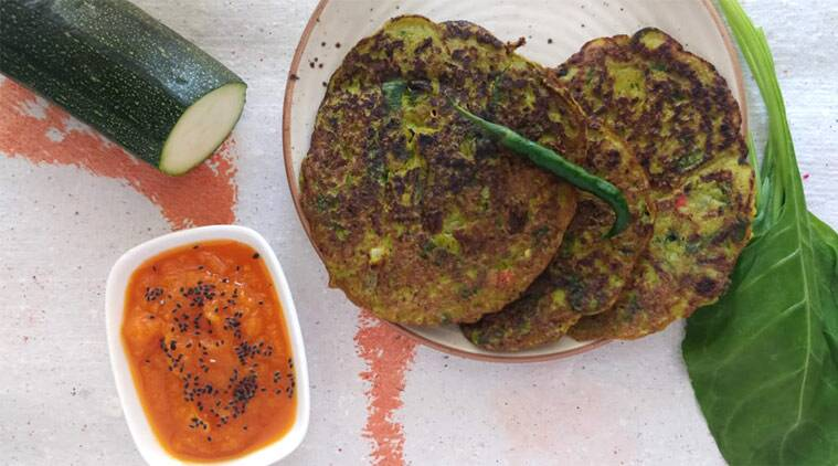 An inspired gourmet millet dish: Millet Pancakes with Pumpkin Pineapple Dip