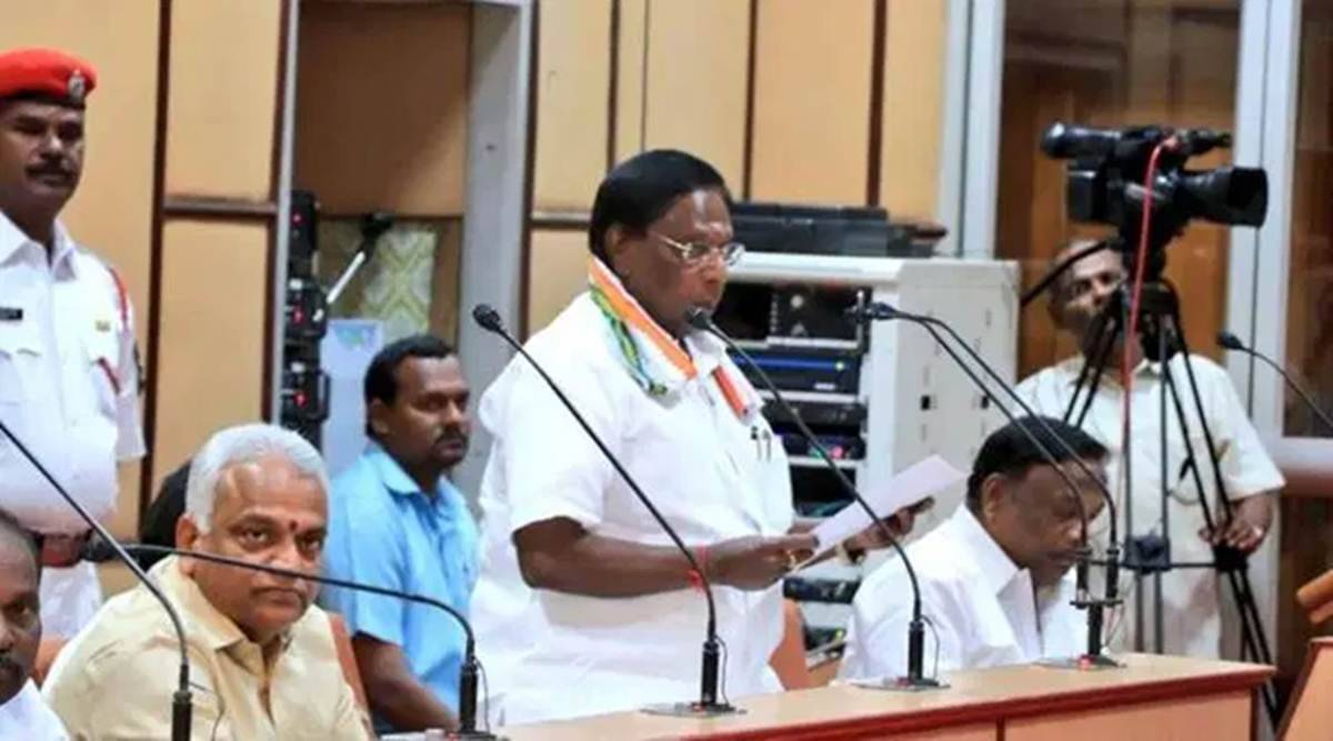 puducherry cm, puducherry assembly, Chief Minister V Narayanasamy, Puducherry Lok Sabha member V Vaithilingam, Puducherry Congress legislator T Jayamoorthy, Puducherry CPI, Puducherry CPI(M), Puducherry VCK, Congress-led SDA ,Secular Democratic Alliance (SDA), india, indian express