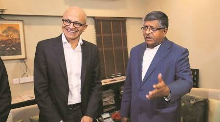 IT Act India, India IT Act Ravi Shankar Prasad, Satya Nadella with Ravi Shankar Prasad, indian express news