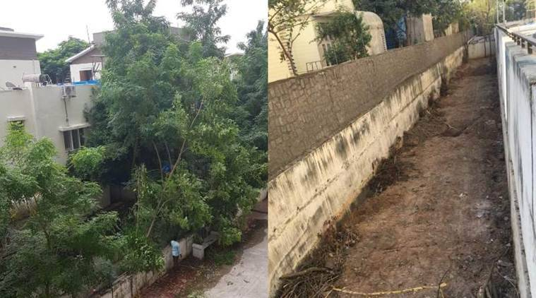 Hyderabad cutting trees, Hyderabad community cutting trees, Hyderabad KPHB community fined, forest department slaps fine, indian express