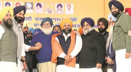 Former Ajnala MLA Amarpal Singh Bony, Amarpal Singh Bony returned to SAD, Shiromani Akali Dal, party rally in Raja Sansi of Amritsar, Sukhbir Singh Badal, punjab news, indian express