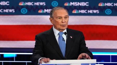 United states elections 2020. democratic presidential nominee micheal bloomberg, las vegas debate, bloomberg sexual allegations, bernie sanders, pete buttigieg, nevada caucuses, new Hampshrie primary, United states news, world news, Indian express news, breaking news