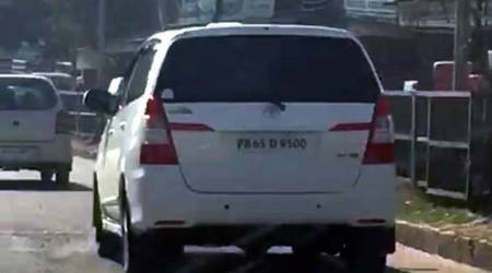 Mohali DC's vehicle has tinted glasses that he can't see