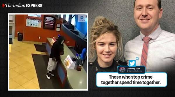 Cop couples, Cop couple stop robbery in restaurant, robbery attempt in Kentucky, Robbery attempt video, Louisville, Trenidng, Indian Express news