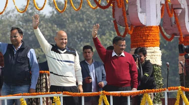 arvind kejriwal oath taking ceremony, delhi chief minister arvind kejriwal, delhi elections swearing in, ramlila maidan kejriwal, aam aadmi party delhi govt, manish sisodia, aap cabinet, delhi govt cabinet