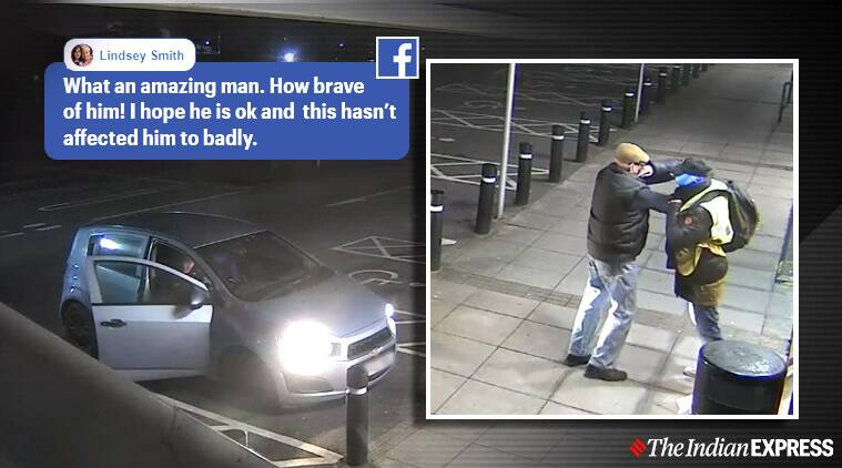 Man fights robber, pensioner bravely fights thug, robbery attempt video, Viral video, Cardiff, UK, Trending, Indian Express news