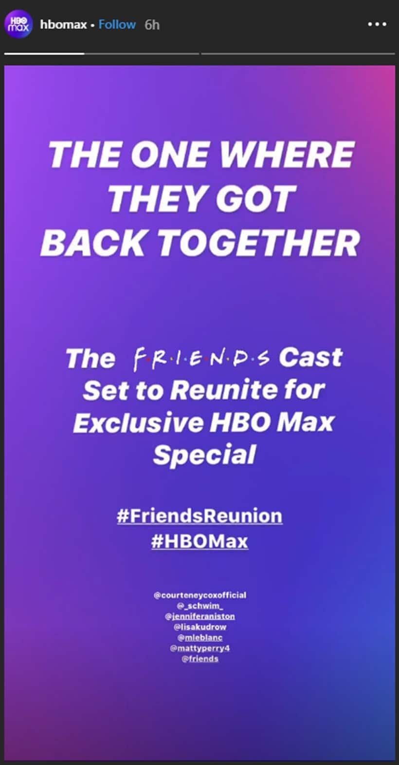 friends reunion hbo
