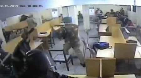 jamia violence, jamia violence new video, delhi police enters jamia library, jamia millia islamia, jamia library violence video, delhi news, indian express