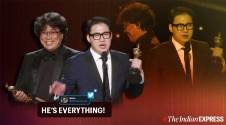 Oscars 2020, Bong Joon Ho, Academy awards 2020, Parasite, Bong Joon Ho reaction to Oscar, Bong Joon Ho Oscar, Bong Joon-ho,Han Jin-won, Best screenplay Oscar, 92nd Academy Awards, Oscar news, Trending, Indian Express news