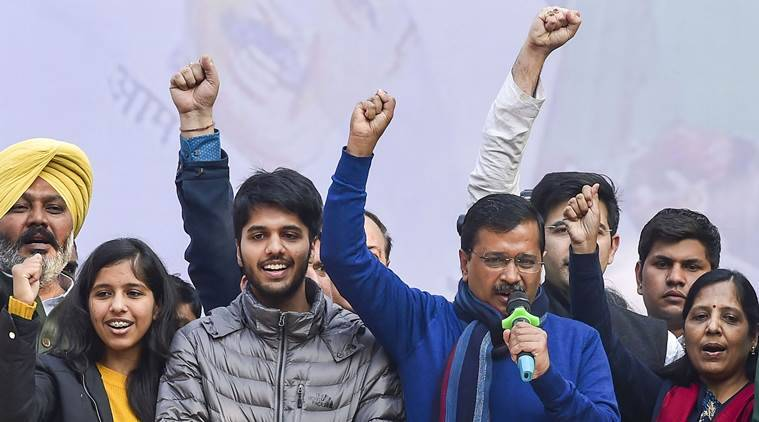 arvind kejriwal swearing in ceremony, kejriwal oath ceremony, state chief ministers kejriwal oath ceremony, delhi assembly election results, delhi city news