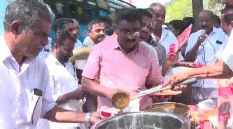 Kerala: Congress workers serve beef curry outside Mukkam police station