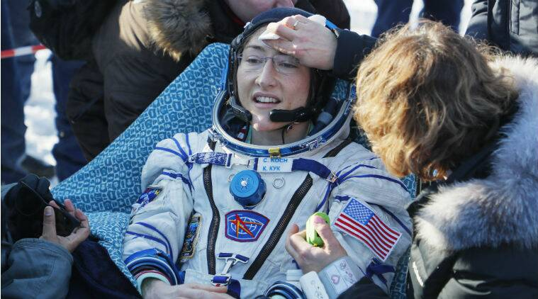 christina koch returns to earth, nasa astronaut christina koch, christina koch, koch returns to Earth, longest spaceflight by woman astronaut, nasa astronaut record breaking spaceflight