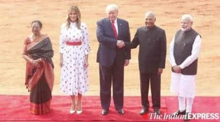US President Donald Trump, First Lady Melania Trump, US President Donald Trump in Rashtrapati Bhavan, US President Donald Trump dinner menu India, Indian Express news