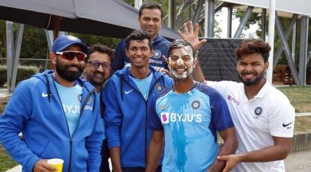 Mayank Agarwal gets cake on his face for his 29th birthday in Hamilton