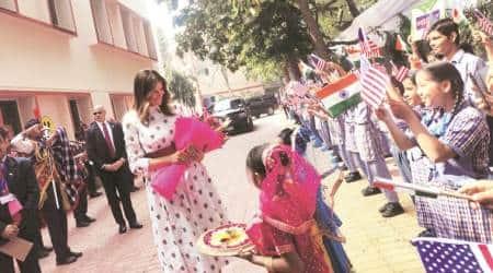 Melania Trump, Melania Trump happiness class, Melania Trump happiness class visit, Melania Trump delhi school visit, delhi news