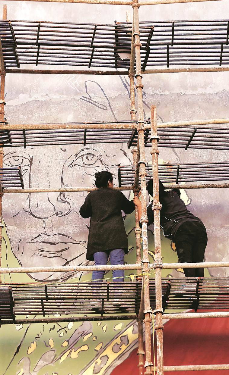 mural painting at Shaheen Bagh, protests against CAA-NRC, artist Shilo Shiv Suleman, Constitution of India, Mahatma Gandhi, indian express news
