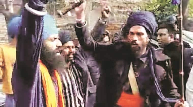 nihang singh protest, ludhiana news, ludhiana city news, ludhiana drugs, ludhiana anti drug protest, indian express