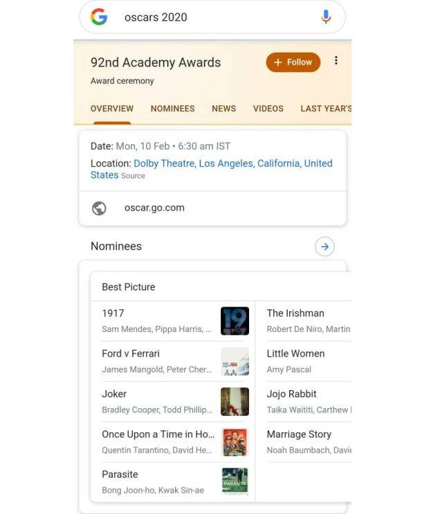oscars 2020, oscars, oscars best actor, oscars best actress, oscars best picture, oscars with google assistant
