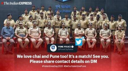 valentine's day, valentines day 2020, pune police, pune police valentines day, chai date pune police, happy valentines day, viral news, good news, indian express