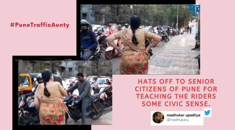Elderly Pune Woman Stands on Pavement and Scolds Bikers Riding on the Footpath, Woman scolds Footpath riders, Woman scolds footpath riders in Pune, Senior citizen, Traffic rules, footpath riders in Pune, Senior Traffic rule breaker  Pune, Trending, Indian Express news
