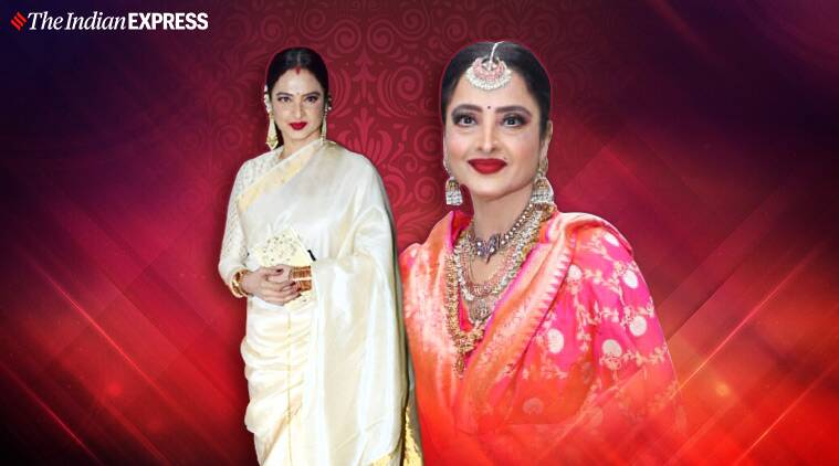 Rekha sari ideas fashion latest photos elegance personified