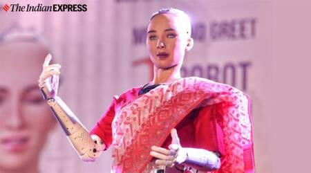 When SOPHIA, the robot wore a red sari in Kolkata