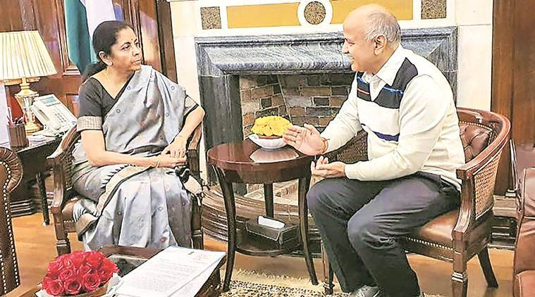 manish sisodia nirmala sitharaman meeting, sisodia-sitharaman meeting, delhi funds, mcd funds, delhi deputy cm meets finance minister, delhi city news