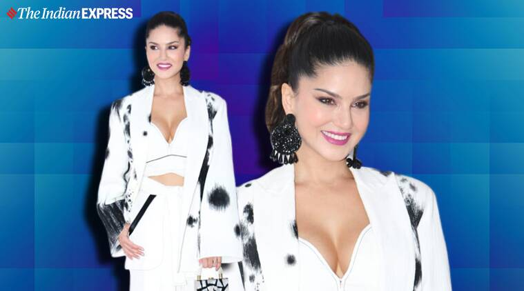 Nailing white pantsuit tricky but sunny leone does it photos