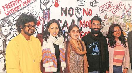 swara bhaskar, swara bhaskar india protests, panjab university, pu swara bhaskar, chandigarh latest news, indian express