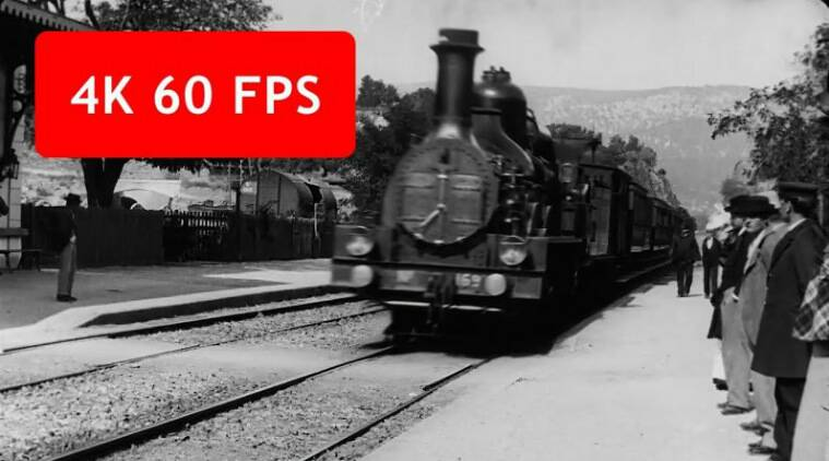 upscaling old video, L'arrivée d'un train en gare de La Ciotat, The Arrival of a Train at La Ciotat Station, 1895 french classic, 1895 french film up scale, upscale 1895 french film