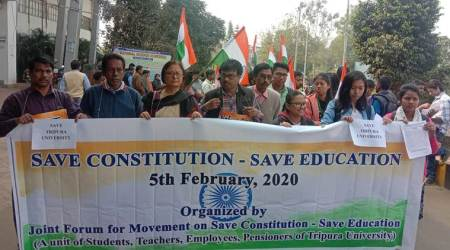 Tripura University hold protest march in appeal to 'Save Constitution'