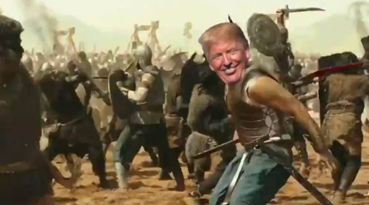 Donald Trump baahubali video, donald trump baahubali song video, donald trump india visit, trump india visit, trump modi meeting