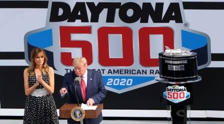 In election year, Donald Trump turns up at NASCAR event and does a lap