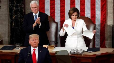 trump pelosi, nancy pelosi, nancy pelosi tears sotu papers, pelosi tears trump speech, trump sotu address 2020, trump sotu address live updates, state of the union address, state of the union address live updates, state of the union address 2020, sotu live address