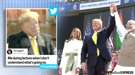US President Donald Trump, Prime Minister Narendra Modi, Trump in India, Donald Trump India visit, Trump maiden India visit, Namaste Trump, Ahmadabad, Agra, Trump in Ahmadabad, Melania Trump on India, Trump in India memes, Trending, Indian Express news,