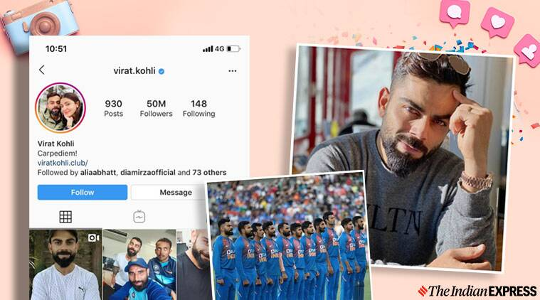 Virat Kohli, Kohli, Instagram, Kohli Instagram, Kohli Instagram followers, Kohli 50 million Instagram followers, Cricket news, Indian Express news