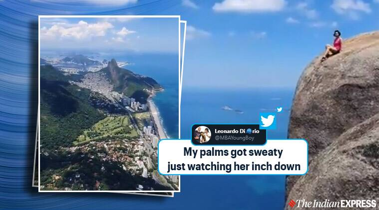 Tourist viral picture, Tourist at the edge of a cliff, Tourist at the edge of a cliff in Brazil, Dangerous pictures by tourist, Brazil, Rio de Janerio, Viral video, Trending, Indian Express news