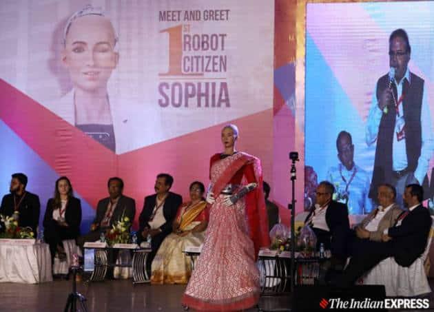 sophia, sophia robot, humanoid robot sophia, sophia in a saree, sophia in india