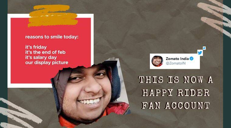 zomato happy rider, zomato smile guy, zomato delivery guy smile, zomato rider memes, zomato india, zomato india funny social posts, indian express, viral news