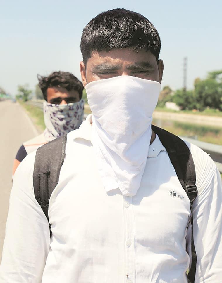 Walking home, migrant workers, Coronavirus outbreak, India lockdown, chandigarh news, indian express news